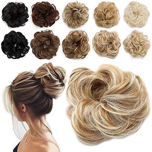 TESS Haarteil Dutt Blond mix Haargummi mit Haaren Gewellt Kleine Haarknoten Hochsteckfrisuren günstig Haarverlängerung Extensions für Frauen 30g Ombre Dunkelblond/Blond