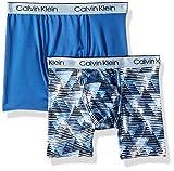 Calvin Klein Big Boys' Kids Performance Boxer Brief Underwear, Multipack, 2 Pack - Blue Geo Print, Delft, S (6/7)