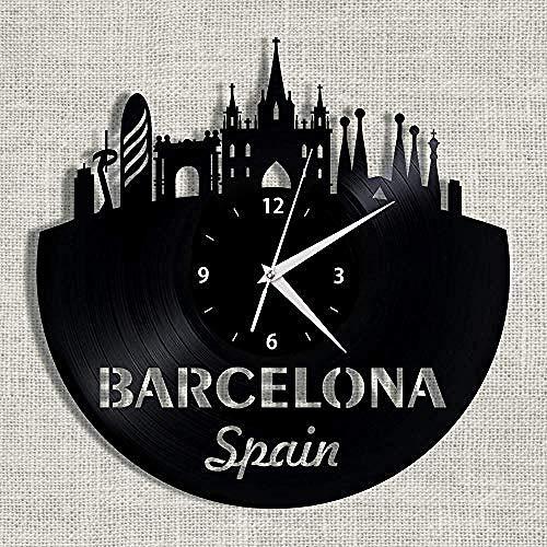 CHANGWW Reloj de Pared Barcelona Ciudad hito Paisaje 3D Reloj de Pared de Vinilo Reloj de Recuerdo Sala de Estar Dormitorio decoración Regalo 12 Inch