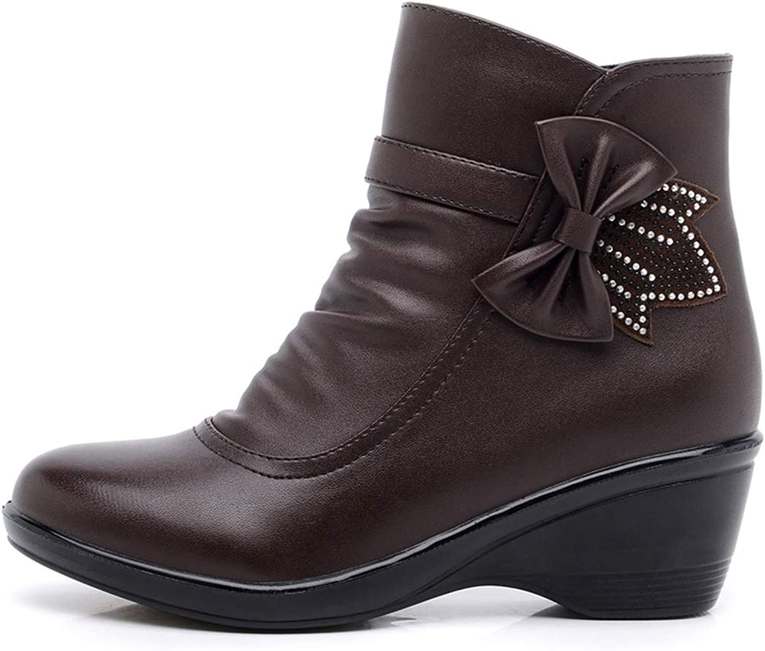 Women Ankle Boots Bow-Knot Wedge Low Heel Round Toe Zipper Winter Warm Plush Lining Antislip Short Snow shoes