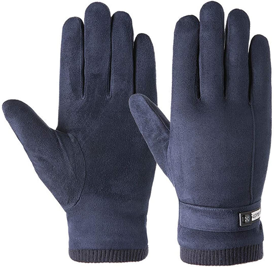Winter Men Sports Plush Thick Warm Cycling Riding Mittens Elastic Suede Leather Touch Screen Driving Gloves A Blue
