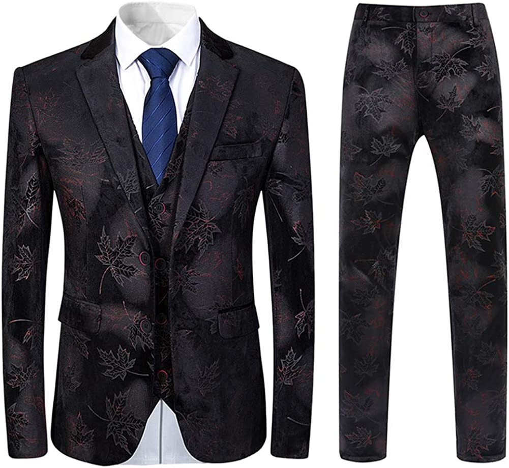 Mens 3 Piece Floral Recommended Suit Slim Dress Fit Blazer Breasted Single T Under blast sales
