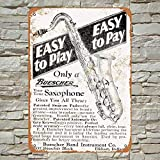 1928 Buescher Saxophones Tin Sign Wall decor Retro Metal poster Painted Art Decoration Plaque party Game Room...