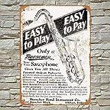 No/Brand 1928 Buescher Saxophones Tin Sign Metal Poster Warning Sign Retro Iron Sheet Plaque Vintage Poster For Bedroom Family Wall Aluminum Art Decor Garage Door