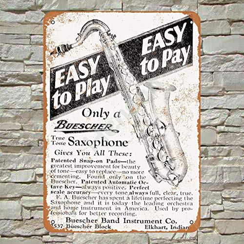 No/Brand 1928 Buescher Saxophones Tin Sign Metal Poster Warning Sign Retro...