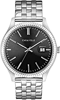 Caravelle Designed by Bulova Men's Quartz Watch with Stainless-Steel Strap, Silver, 20 (Model: 43B157)