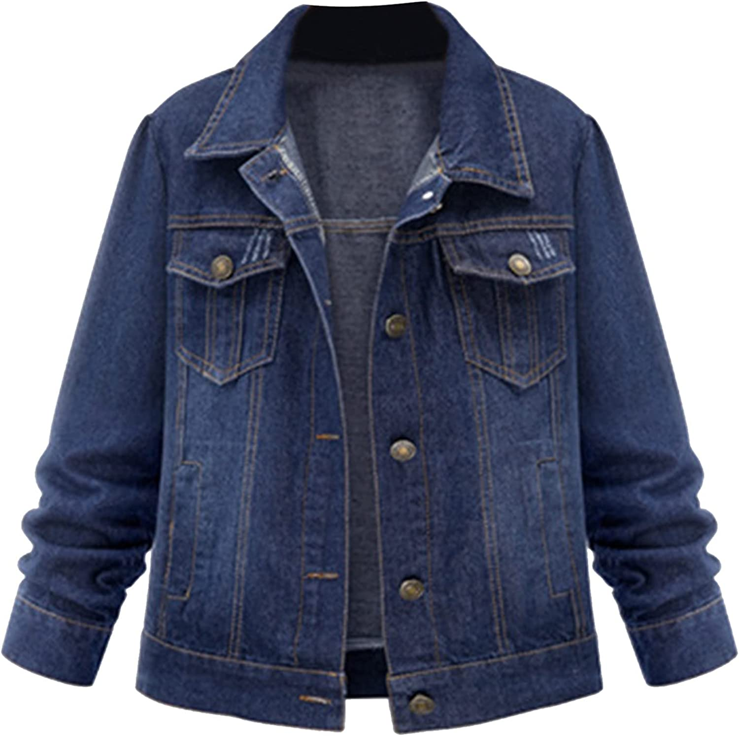 Women's Genesis Denim Jackets Ladies Cowgirl Ladies Blouse Casual Long Sleeved Front Zip Coat Party with Pockets