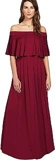 Women's Casual Off The Shoulder Layered Ruffle Party Beach Long Maxi Dress