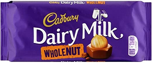 Cadbury Dairy Milk Chocolate Whole Nut Bar (120g) - Pack of 6