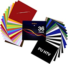 """HTV Heat Transfer Vinyl Bundle: 36 Pack 12"""" x 10"""" Iron on Vinyl for T-Shirt, 27 Assorted Colors with HTV Accessories Tweez..."""