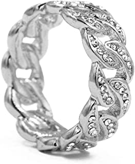 Raonhazae Hip Hop Fashion Iced 14K Gold Finished Cuban Link Bust Down Ring (Silver, 12)
