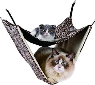 NACOCO 2 Level Comfortable Cat Hammock, Breathable Hanging Bed/nest for Kitten/Adult Cats, Double Layer Pet Cage for Spring/Summer/Winter