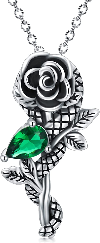San shopping Jose Mall SLIACETE Snake Necklace Sterling Silver Neck Pendant Rose Flower