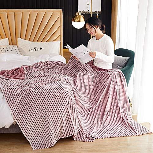 HEXIN Kuscheldecke Wohndecke,Tagesdecke Wohndecke, Flanelldecke – weiche,Couchdecke Mikrofaser Sofaüberwurf Superweich & Flauschig Fleecedecke für Bett & Sofa (Rosa, 180x200cm)