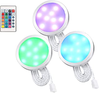 Temgin Luz LED Armario ronda Luces de Debajo 3W RGB Regulable Luz Mueble Cocina Lámpara Nocturna Aluminio para Gabinete Pasillo Escalera 12V DC