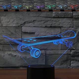 3D Optical Illusion Colorful Night Light Skateboard Touch Switch USB Powered LED Desk Decoration Lamp for Holiday Birthday Cool Gift
