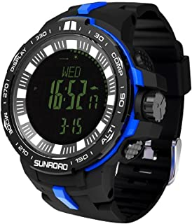SunRoad Multi-Function Men's Sports Altimeter Digital Watch with Swiss Sensor Fishing Index Altimeter Compass Thermometer Weather Forecast Wristwatches (Blue)