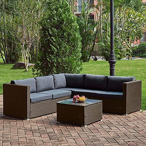 6 Pieces Outdoor Patio Furniture Set Tribesigns PE Rattan Sofa Chair Sectional Furniture Conversation Set with Cushions and Coffee Table for Porch Garden Poolside (Brown+Gray)