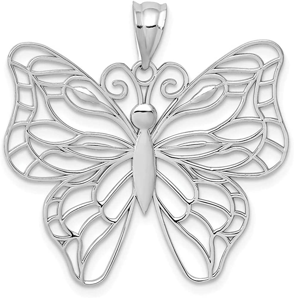 14k White Gold Large Butterfly Animal Charm In a popularity Necklace cheap Ins Pendant