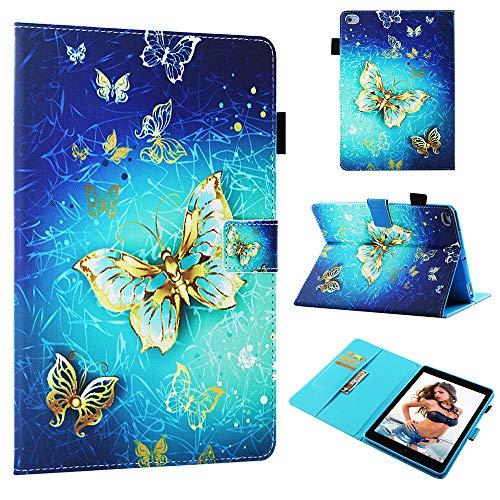 Coeyes Funda para tablet PC compatible con Apple iPad de 9,7 pulgadas, 2018 y 2017, iPad Air 2 Air, funda de piel con tarjetero - mariposa dorada
