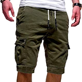5e7217cda8 flywinner Men's Casual Sport Multi Pocket Elastic Waist Drawstring Shorts