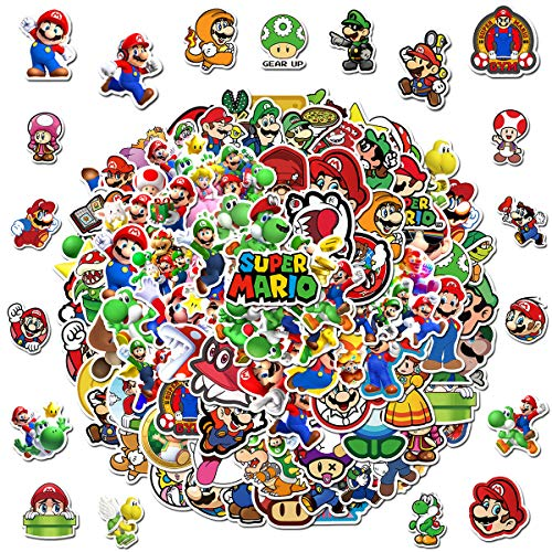 SUNSK Cartoon Stickers for Super Mario Sticker Waterproof Waterbottle Laptop Phone Luggage Case Stickers Kids Room Decor Sticker 100 pcs