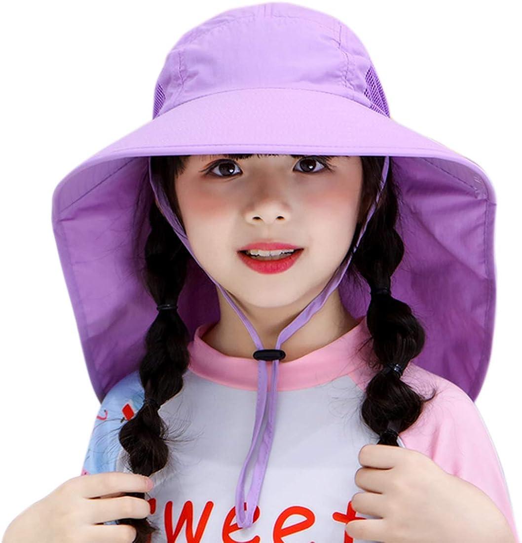 Muryobao Kids Child Girls Boys Summer Sun Hat Wide Brim UV Protection UPF50+ Hats Mesh Bucket Cap for Beach Fishing with Neck Flap Purple: Clothing, Shoes & Jewelry