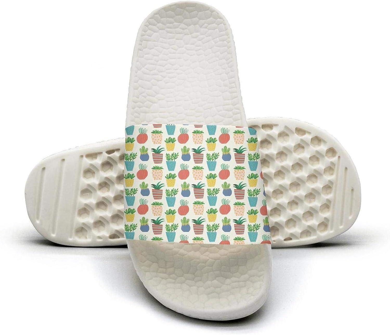 Womens Cute Plant Pattern Cactus Fruits Slip on Beach Sandals and Anti-Slip Shower Slipper Comfort Sandals
