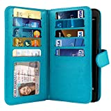 NEXTKIN Case Compatible with ZTE Blade Z Max Z982, Leather Dual Wallet Folio TPU Cover, 2 Large Pockets Double Flap, Multi Card Slots Snap Button Strap for ZTE Blade Z Max Z982/ Sequoia - New Teal