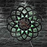 UIOLK Reloj de Pared de Flores geométricas Arte Disco de Vinilo diseño de Reloj de Pared decoración del hogar luz de Noche LED iluminación para Dormir