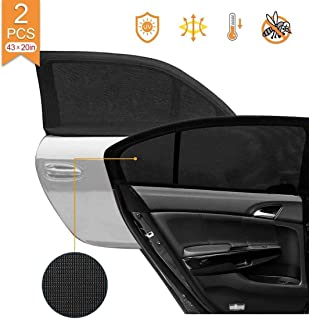 2 Pack Car Side Rear Window Sun Shades, Breathable Mesh Protects Kids from Sun Glare Burn Heats and UV Rays, Fits Most of ...