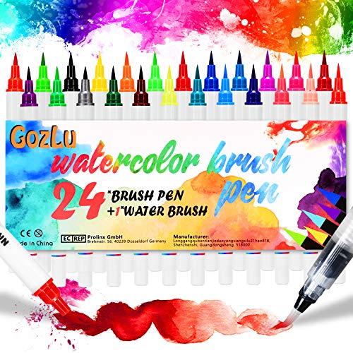 Gozlu Pinselstifte Set, 24 Nylon Aquarellfarben mit 1 Wassertankpinsel, Handlettering Stifte für kinder & erwachsene - Bullet Journal, Manga, Kalligraphie und Zeichnungen