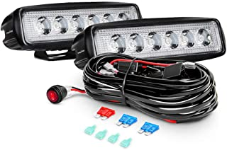 Nilight ZH048 2PCS 18W Spot Work Pods Fog Led Driving Lights with Off Road Wiring Harness, 2 Years Warrant