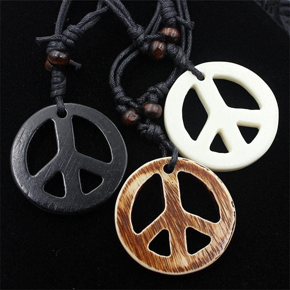 3Pcs Love Peace Sign Hippie Pendant Necklace Vintage Rope Chain Resin Peace Pendant 1960s 1970s Hippie Party Dressing Accessories Jewelry for Women Men
