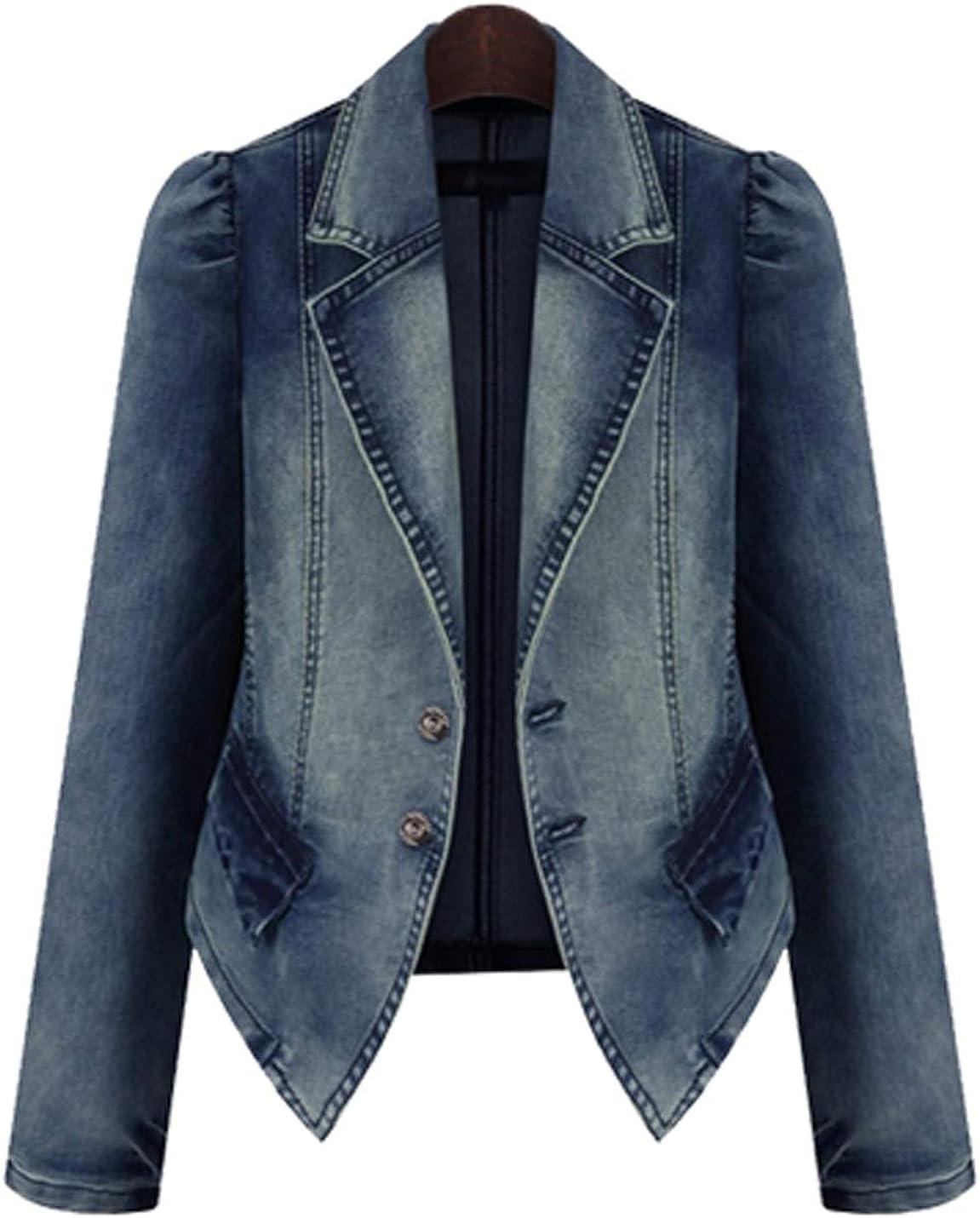 D.B.M Women's Short Slim Puff Sleeve Irregular Hem Denim Cotton Suit Jacket