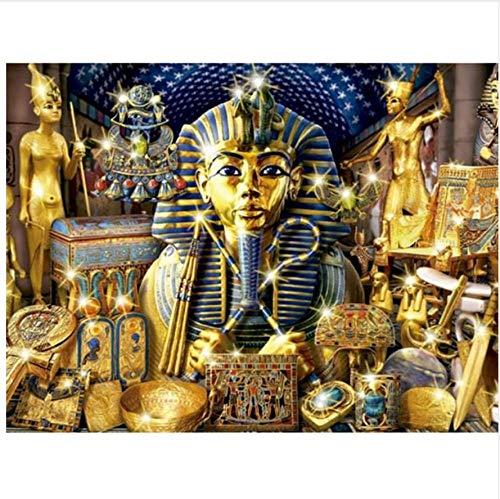 YMX DIY Family Malen Durch Die Zahlen, Malen Nach Zahlen Lackierungen Für Freund Erwachsene Kinder Senioren Junior Kopf des Ägyptischen Pharaos, Goldporzellan. No Frame