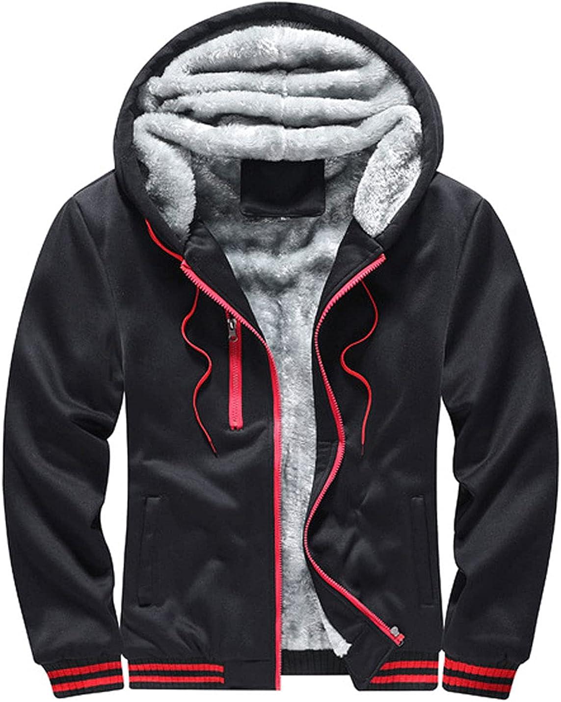 Bankeng Men's Winter Fleece Sherpa Lined Zipper Hoodie Sweatshirt Jacket