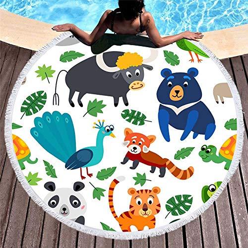 YUANCHENG Toalla de Playa Redonda de Microfibra de Dibujos Animados Impresa en 3D para Adultos Summer Toalla Tassel Yoga Mat