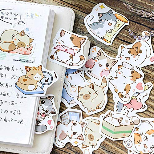 Small Size Scrapbook Stickers, 45pcs Doraking Boxed DIY Decoration Super Cute Cats Stickers for Laptop Planners Scrapbook Suitcase Diary Notebooks Album(Sweet Cats, 45pcs/ Box)