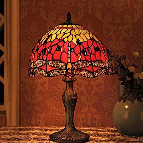 Gweat Tiffany 12 Zoll Vintage europäischen Stil Glasmalerei Libelle und Perle Warm Bunte Serie Tischlampe Schreibtischlampe Nachttischlampe