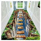 SCAHUN Alfombras De Pasillo 3D Interesar Sabor Alta Altitud Asi Que Puente Diseño Entrada Corredor Antideslizante Alfombra del Piso Pila Baja Fácil De Limpiar Largo Diapositiva Alfombra,Green-1.2×2m