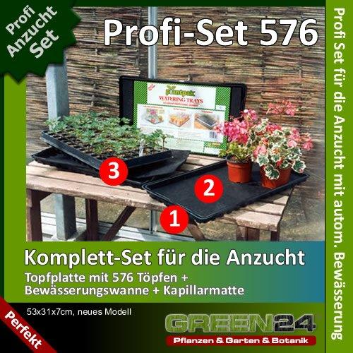 GREEN24 Anzucht-Set 576-PRO - Anzuchtplatte mit 576 Töpfen + Wanne + Kapillarmatte zur automatischen Bewässerung. Profi Set für die Massen-Vermehrung von Saatgut/Samen - Anzuchtschale/Anzuchtkasten