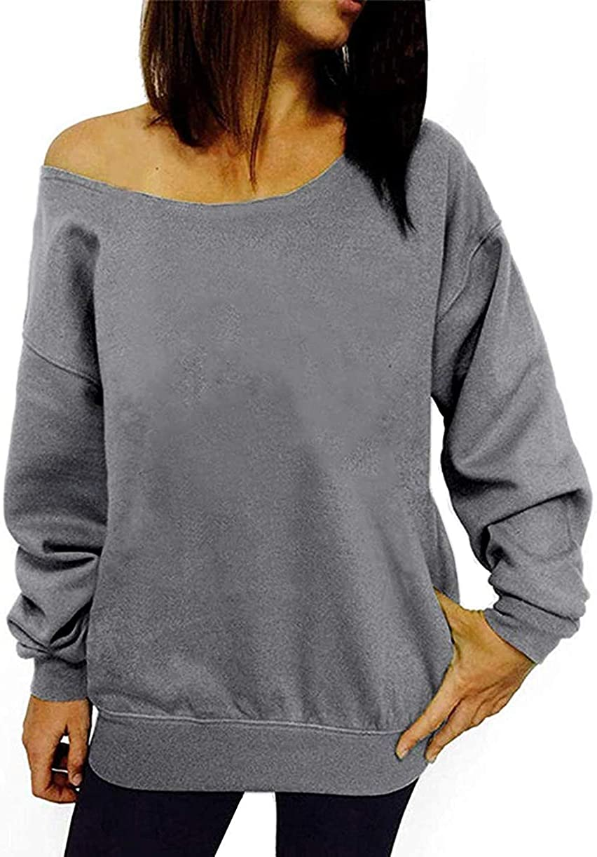 GSVIBK Womens Long Sleeve Off Shoulder Sweatshirts Soft Pullover Tops Slouchy Sweatshirt Casual Solid Shirt