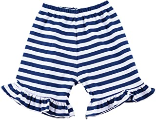 Wennikids Baby Girl Stripe Cotton Ruffle Girl Shorts