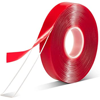 """Double Sided Tape Heavy Duty-1/2""""10'Acrylic Strong Adhesive Removable Double Sided Mounting Tape Clear for Carpet Fix/Home Office Wall/DIY Crafts/Poster/LED Lights/Car Glass Decor"""