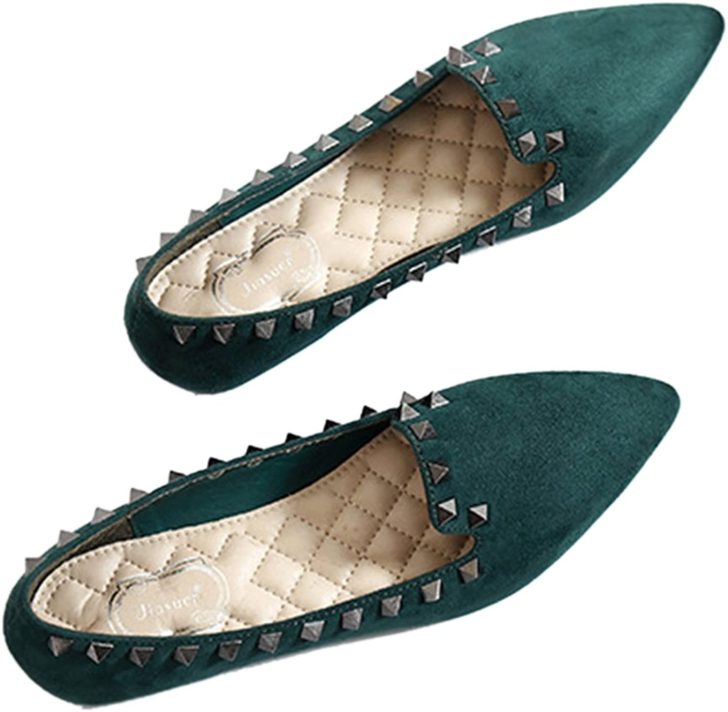 Rivet Flat Plus Size Low-cut Fluff Pointed Thin shoes green 40