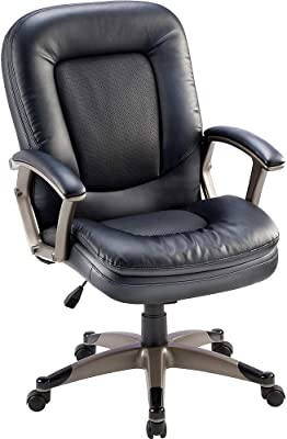 Lorell Mid-Back Chair, 27 by 32-1/2 by 43-1/2-Inch, Black