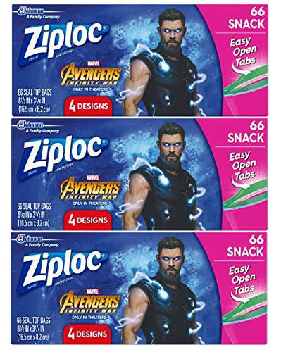 Check Out This Ziploc Snack Bags, Easy Open Tabs, 66 Count, Pack of 3 (198 Total Bags)- Featuring Ma...