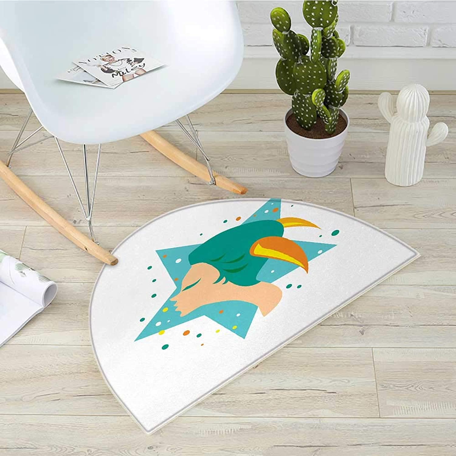 Zodiac Capricorn Semicircle Doormat Cartoon Woman with Horns on a Giant Stars with colorful Dots Background Halfmoon doormats H 39.3  xD 59  Multicolor
