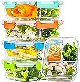CREST Set de 5 Recipientes de cristal para alimentos, 1040 ml, 3 compartimentos, Apto para lavavajilla, microondas, congelador